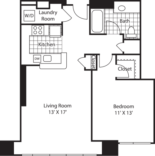 1 Bed (South) - 792