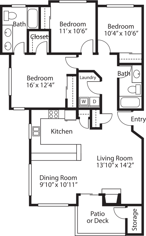 Three Bedroom/ Two Baths