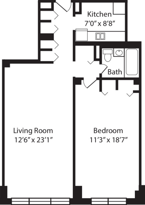 One Bedroom F 2-10