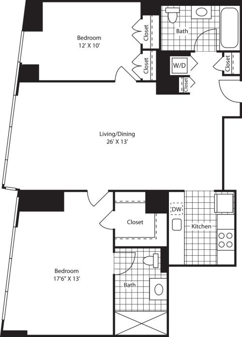 Two Bedroom ShwrMstr FL 47-49