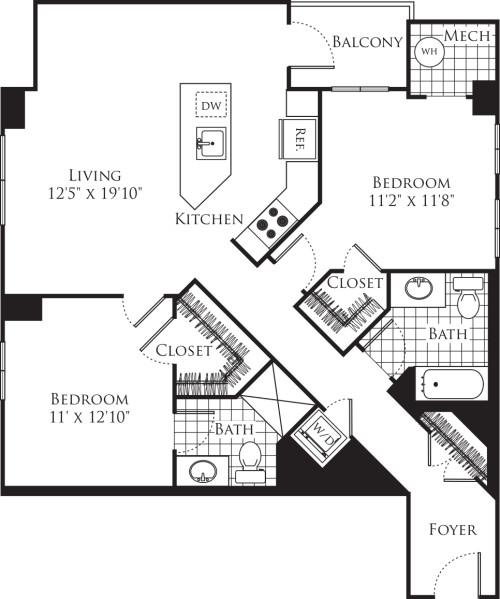 2 Bedroom- 1125