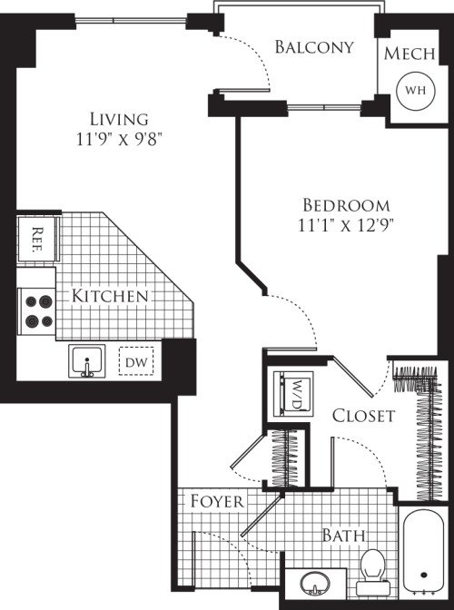 1 Bedroom- 620