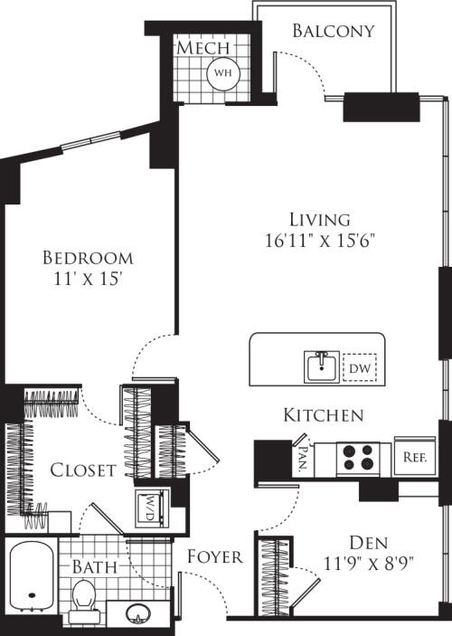 1 Bedroom with Den 1012