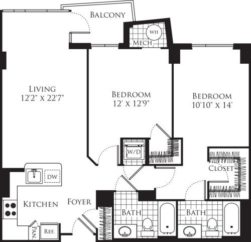 2 Bedroom- 1097
