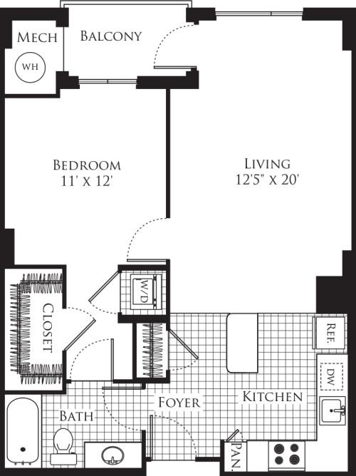 1 Bedroom- 724