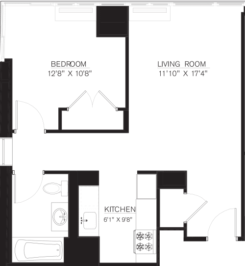 1 Bedroom A Line floors 42-50