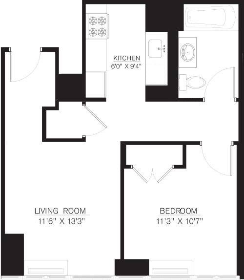 1 Bedroom G Line floors 9-16