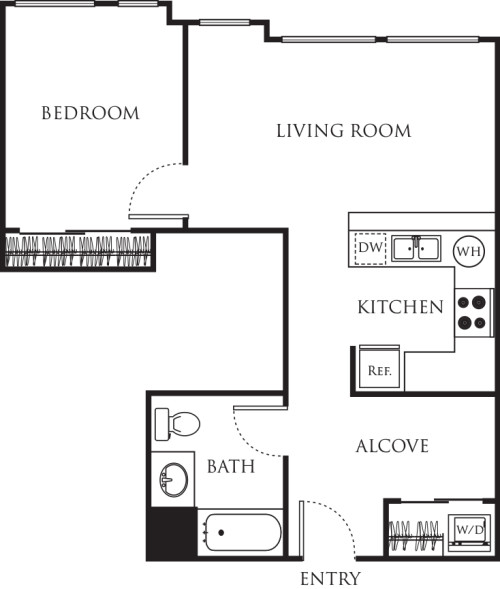 One Bedroom with Alcove 600