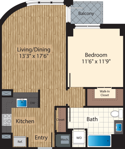 One Bedroom E 736