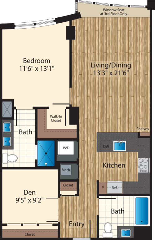 One Bedroom+Den J/979