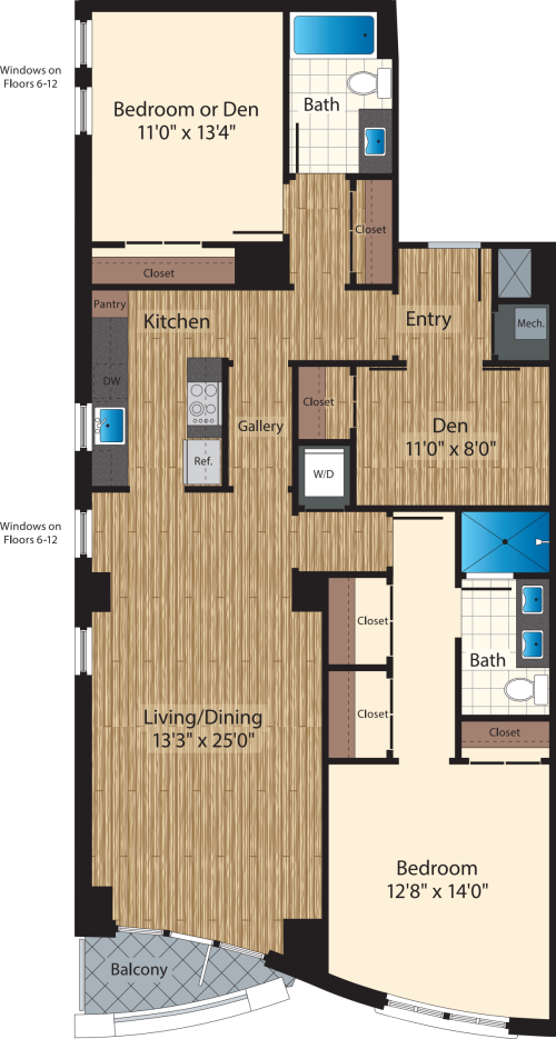 Two Bedroom+Den/  Two Bath B/1493