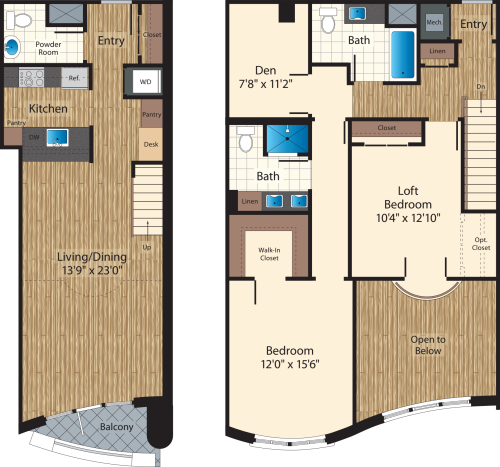 Two Bedroom+Den Loft/  Two Bath K/1585