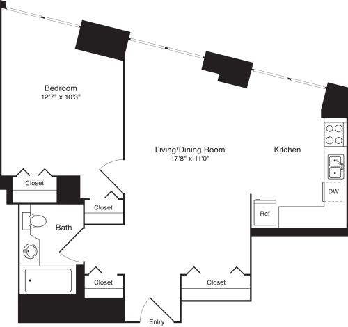 Residence D, floors 3-17