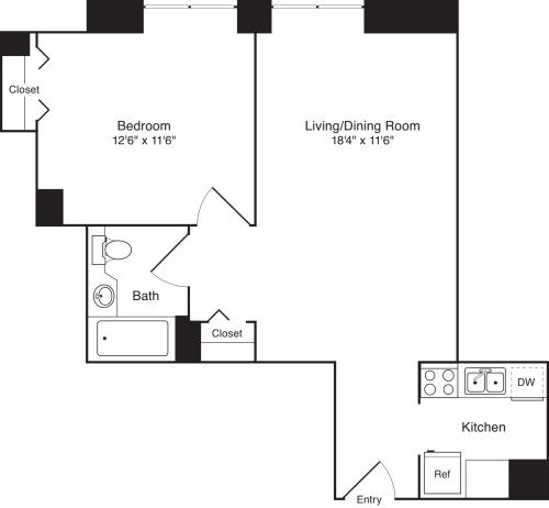 Residence G, floors 3-17