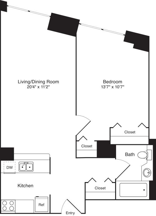 Residence C, floors 3-17