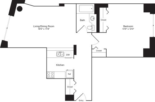 Residence E, floors 3-8