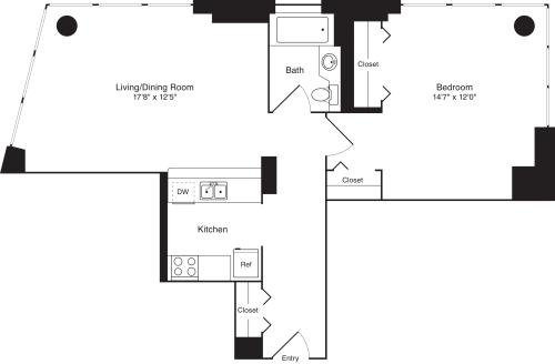 Residence E, floors 10-17 - Residence A, floor 9