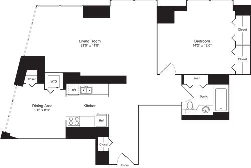 Residence B, floors 19-20