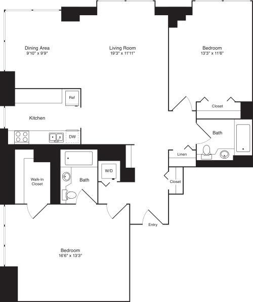Residence F, floors 22-33