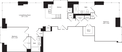 Residence D, floors 22-33