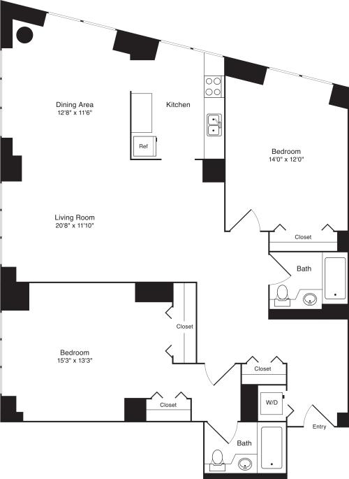 Residence B, floors 3-17