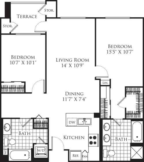 2 Bedroom FP