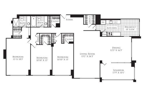 3 Bedroom A with Solarium