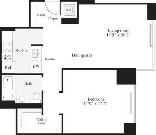 1 Bedrooms P