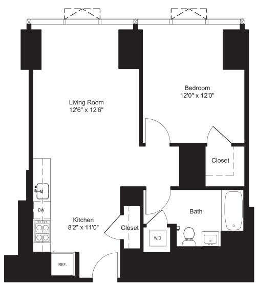 One Bedroom J 3-6, I 7-19
