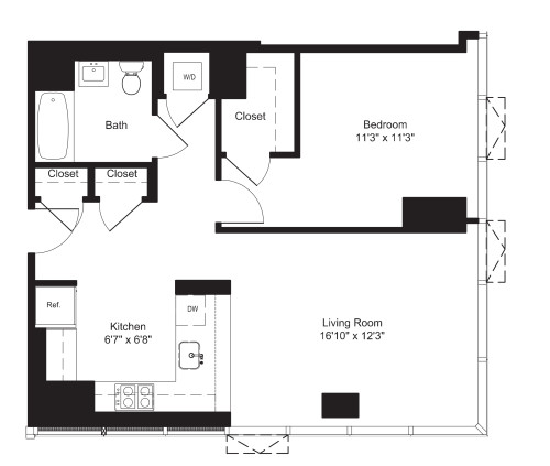 One Bedroom E 2-19