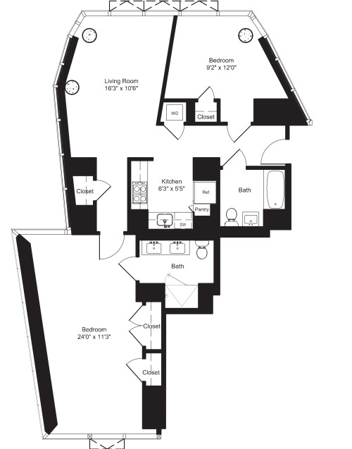 Two Bedroom K 2, 7-11 and L 3-6