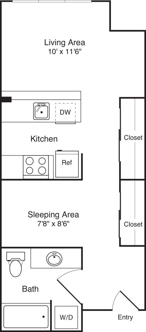 Open 1 Bedroom D