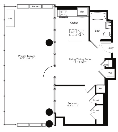 One Bedroom C 14 with Terrace