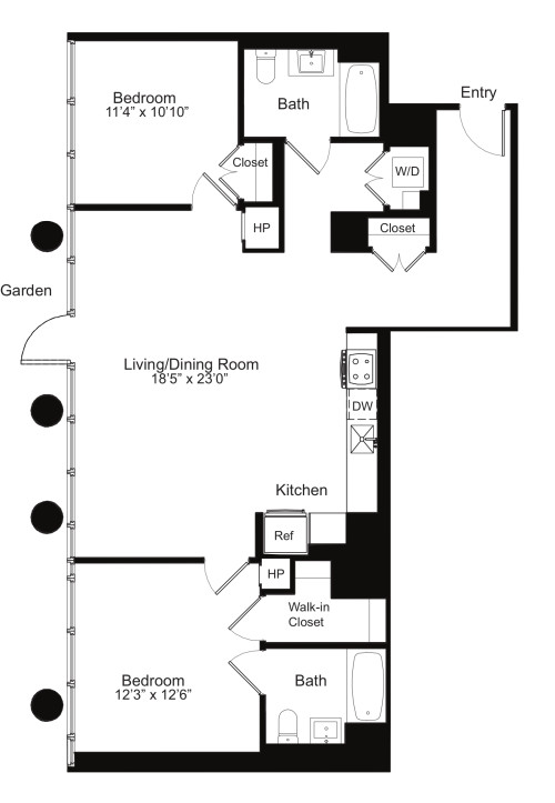Two Bedroom N 1 with Garden Access