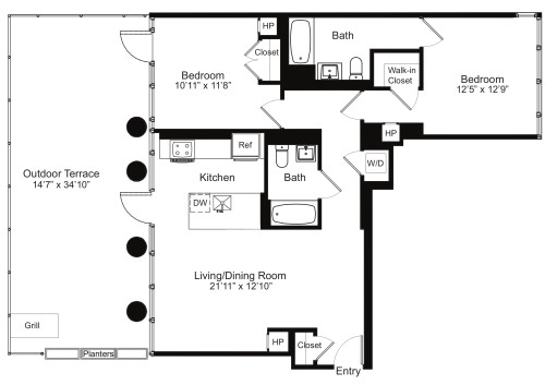 Two Bedroom D 14 with Terrace