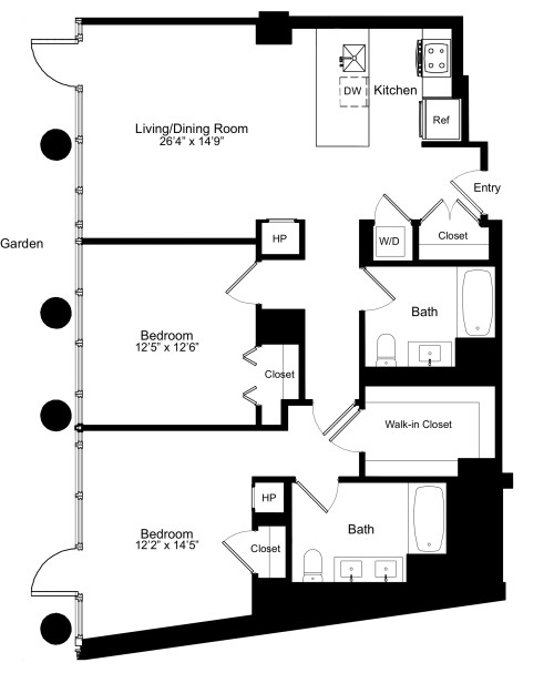Two Bedroom B 1 with Garden Access