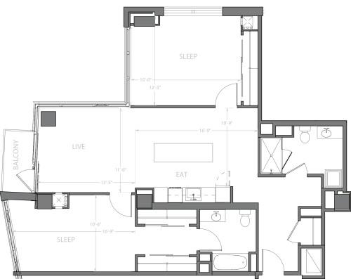 2 Bedroom F with Balcony