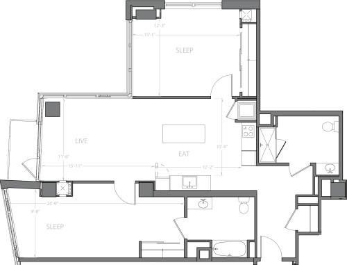 2 Bedroom G with Balcony
