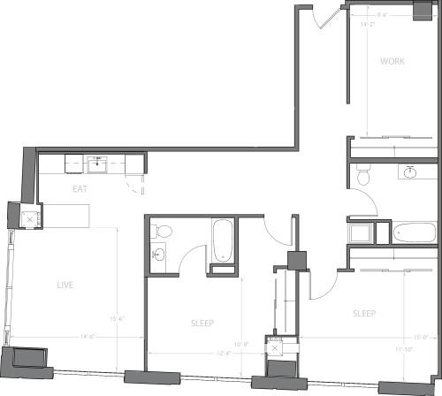 2 Bedroom H with Den