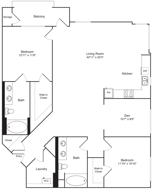 2 Bed with Den - 1461
