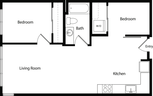 Two Bedroom One Bath D