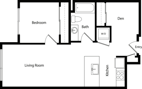 One Bedroom Den B