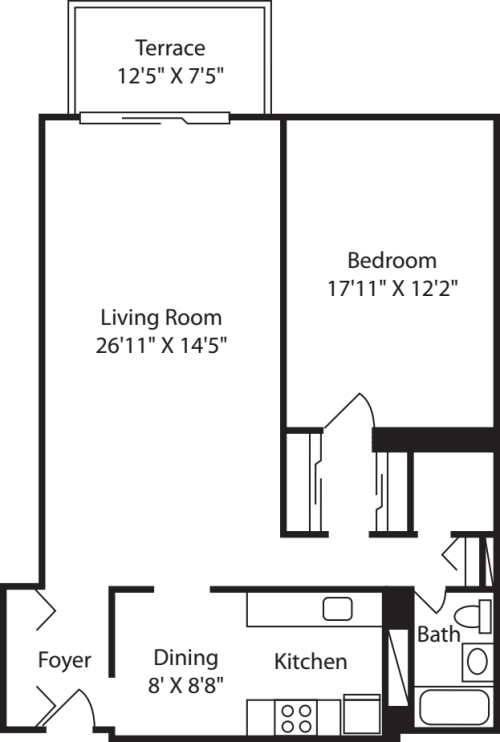 Longfellow One Bedroom -A