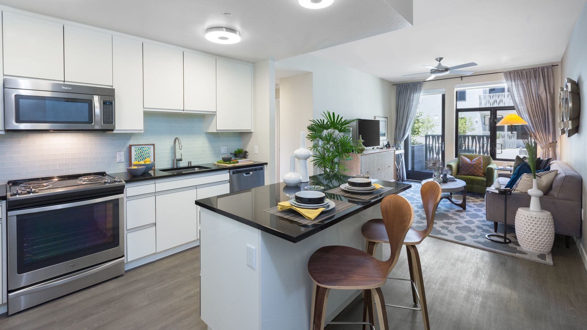 Azure Apartments - Kitchen and Living Room