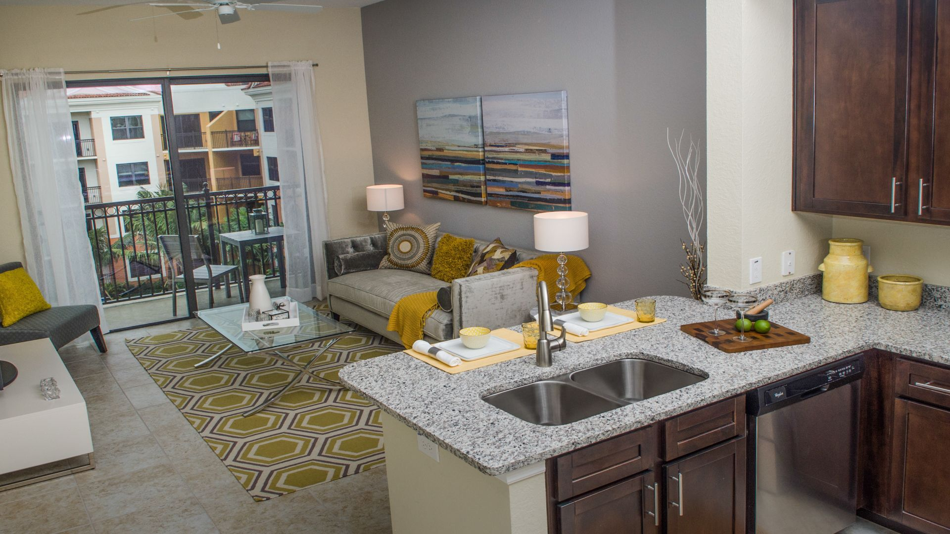 Nexus Sawgrass Apartments - Kitchen and Living Room