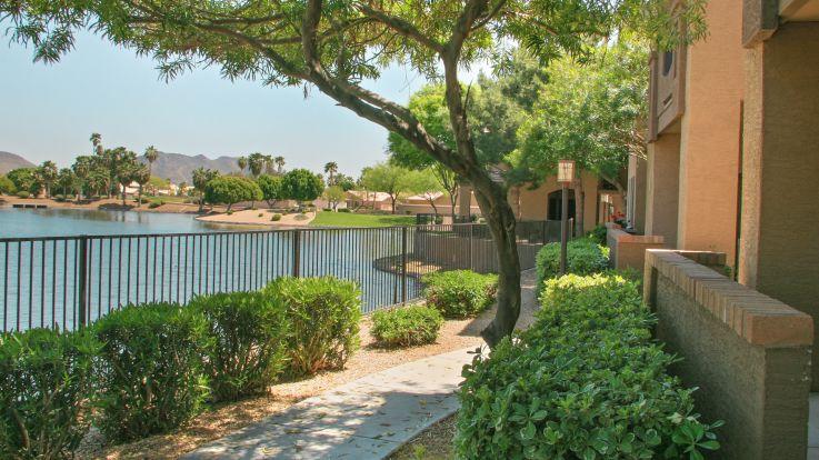 Strayhorse Apartments - Lake and Walkways