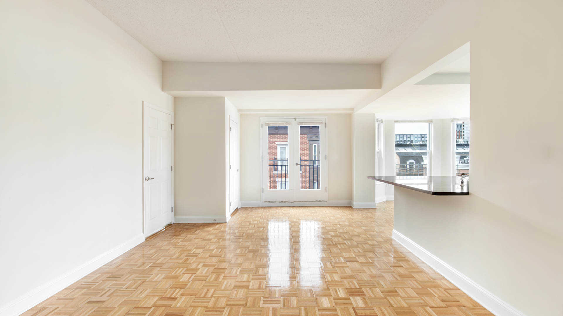 Living and Dining Room with Parquet Hard Surface Flooring