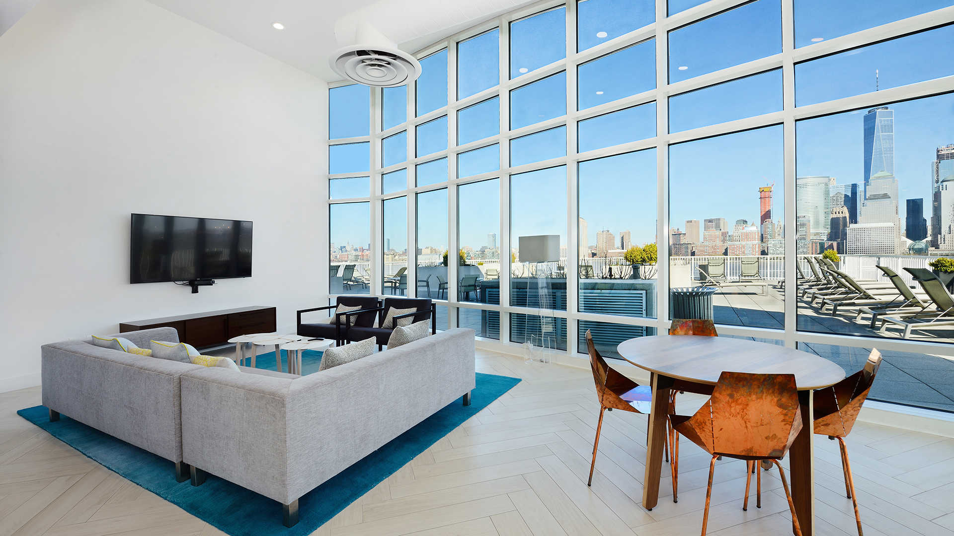 Resident Lounge with View of Manhattan