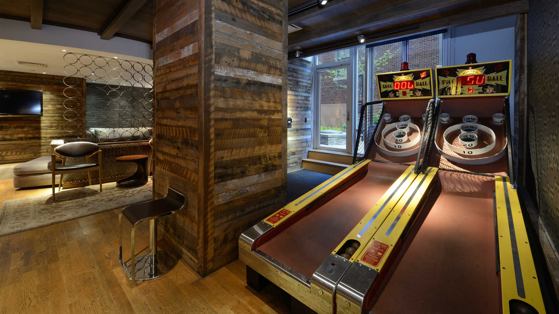 Lounge and Game Room with Skee Ball