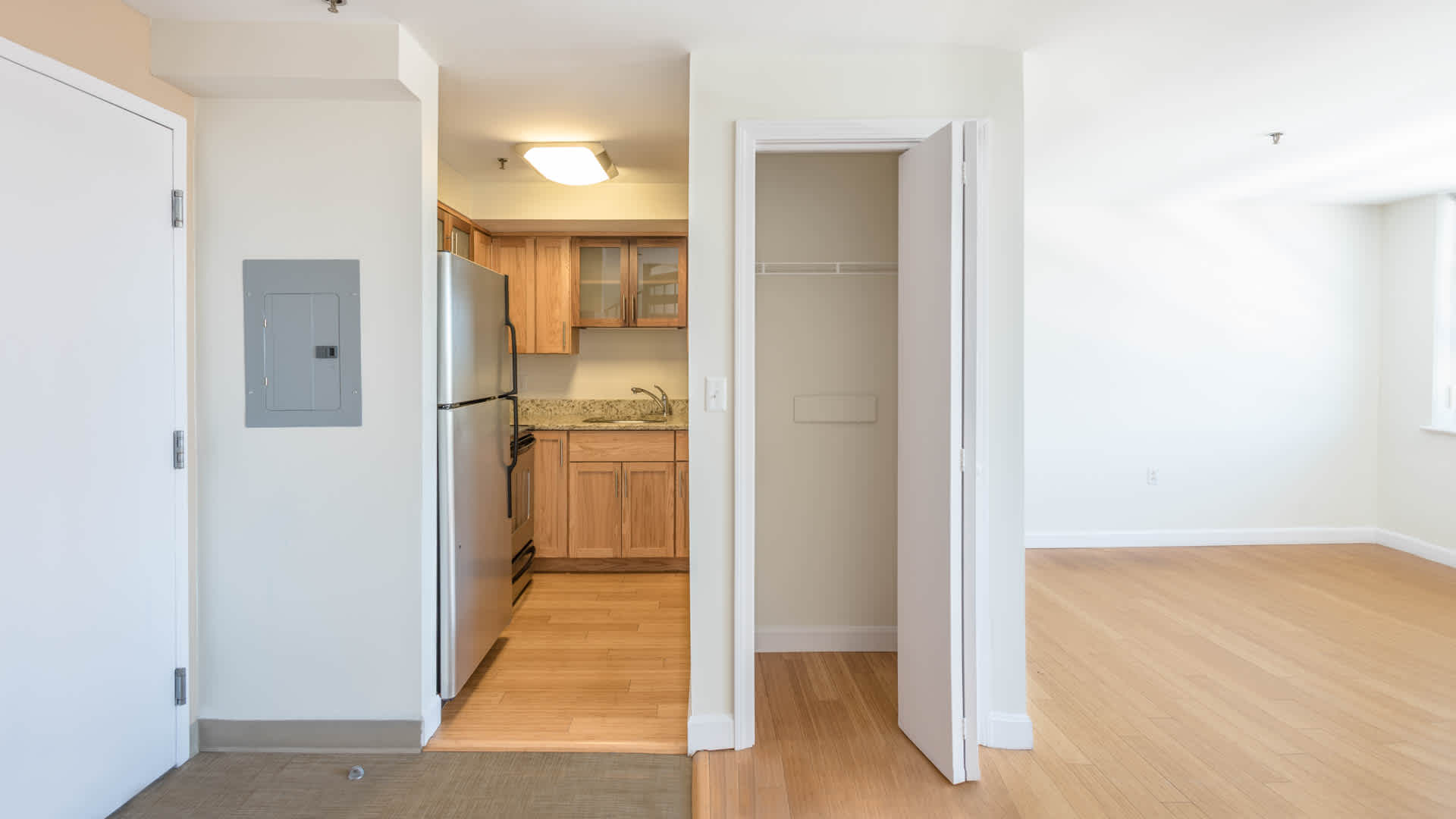 Lofts at kendall square apartments kitchen and living area